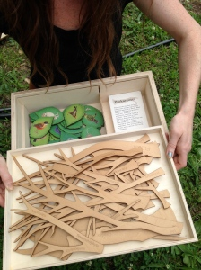 Chelsea from Waseca Biomes shows off the Tree of Life materials in the Tree of Life Box!